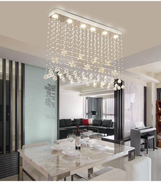 Cognac Butterfly Crystal Modern Chandelier For Dining Room Rectangle Hang Crystal Lamps Home Decoration Luminaire Suspension