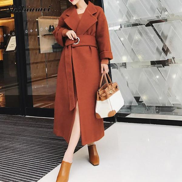 Fashion Office Lady Long Sleeve Side Slit Long Overcoat with Belt 2019 Autumn Winter Elegant Female Outwear Jacket and Coats