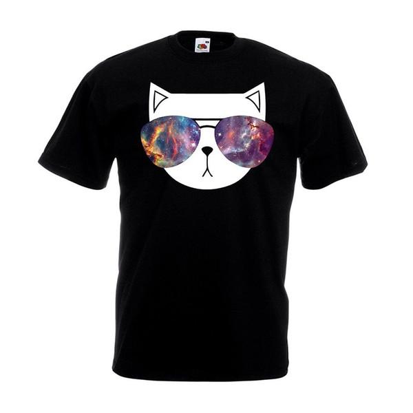 Katze-Sonnenbrille-T-Shirt Sparkly Glittery Lustiges Tierliebhaber-Geburtstags-Geschenkoberseite Lustiges freies Verschiffen
