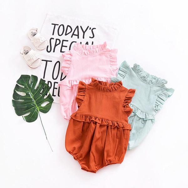 Yaz Katı Fırfır Kolsuz Romper Yenidoğan Bebek Kız Giysileri 2018 Vintage Prenses Kız Çocuk Bebek Tulum Bebek Kıyafetleri