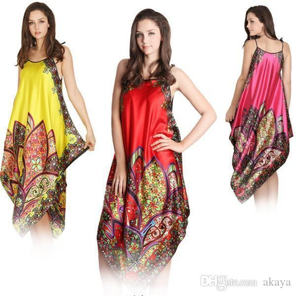 Sexy Women Imitated Silk Sleepwear Robes Dress Night Skirt Nighty Nightgowns Hot Color Rose Red Yellow