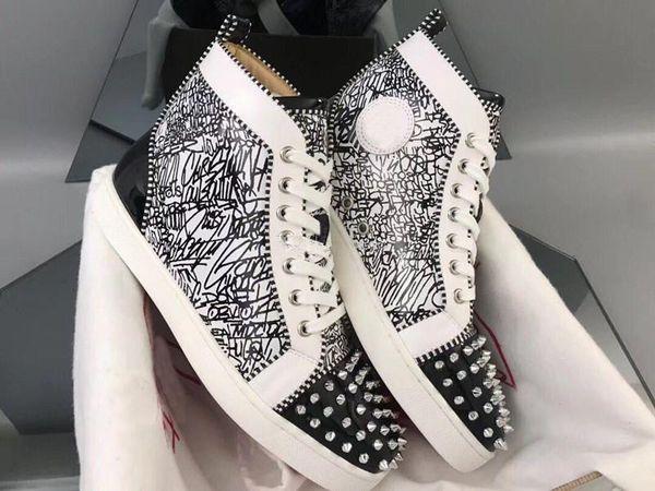 2019 New Weiß Schwarz Graffitit, High Top, Spikes Red Bottom-Turnschuh-Schuhe der Frauen, Männer Günstige beiläufige Marken-Modedesigner-Party-Design-Gehen