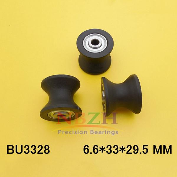 2Pcs 6.6x33x29.5mm BU3328 U Groove Guide Pulley Sealed Rail Ball Bearing Plastic