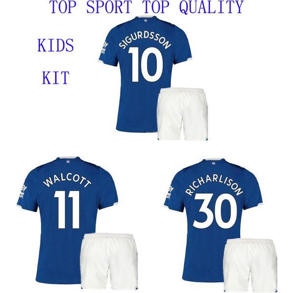 19 20 Everton Kid's Soccer Jersey Shorts Home Football Set SIGURDSSON RICHARLISON ANDRE GOMES WALCOTT Football Shirts Boy's Sports Uniforms