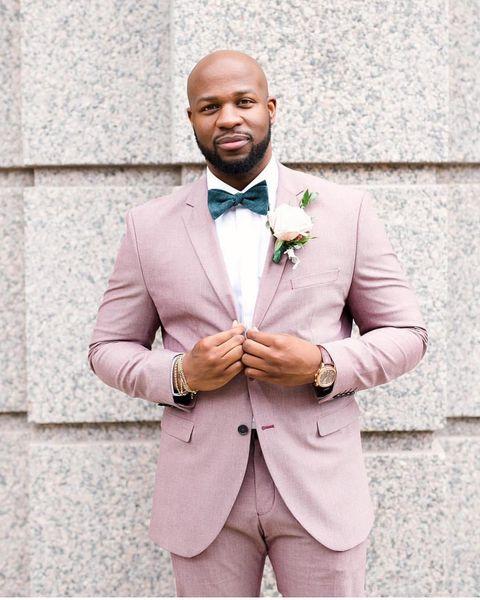 Rosa Bräutigam Smoking Groomsmen Kerbe Revers Best Men Anzug Hochzeit Blazer der Männer Anzüge nach Maß (Jacket + Pants)