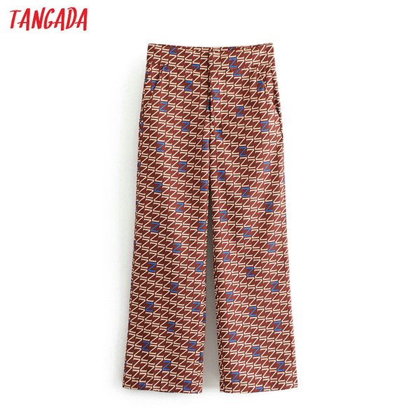 Tangada women geometric print wide leg pants with pockets zipper lady chiffon pants loose casual long female DA09