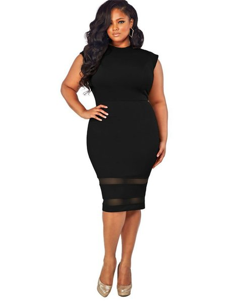Plus Size Sommer-Kleider Sleeveless O-Ansatz reizvolles Kleid-dünne Designer Panelled Nettogarn Lady Damen Kleidung