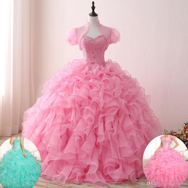 2019 Pink Aqua Quinceanera Gowns With Jacket Beaded Organza Corset Ball Gown Sweet 16 Dresses Prom Evening Wear Vestido de 15 Anos 2018