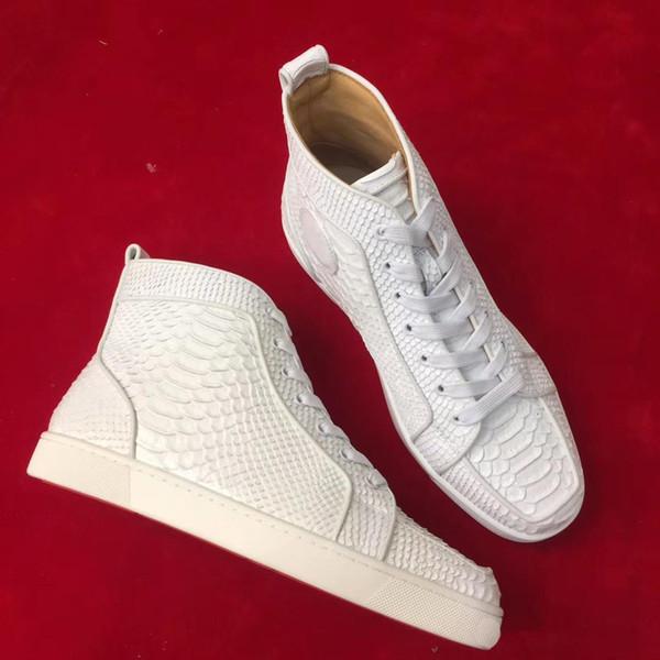 2019 New Fashion Unisex High Top Scarpe casual Fondo rosso Vera pelle per uomo e donna Sneakers taglia 35-46