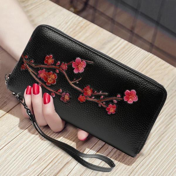 Bjyl Couro Genuíno Das Mulheres Longo Carteira de Moda Com Zíper Saco de Mão Algemas Titular do Cartão de Flores Sacos de Embreagem Do Telefone Móvel Bolsas