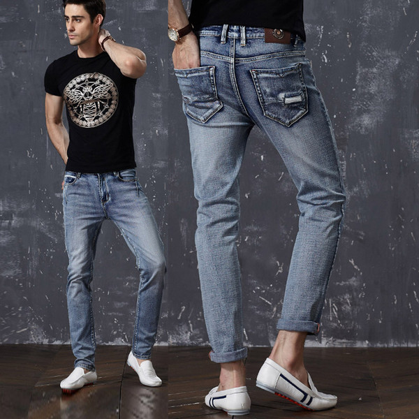 Blue Jeans Slim Fit Super Skinny Jeans For Men Street Wear Hio Hop Tight Cut Closely To Body Big Size Stretch