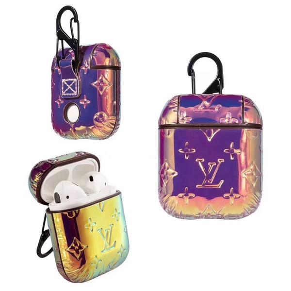 Per Airpods Case Rainbow color Luxury Case Shell Designer Marca PU Cover protettiva Hook Chiusura Anti perso Fashion Auricolare Custodie Protector