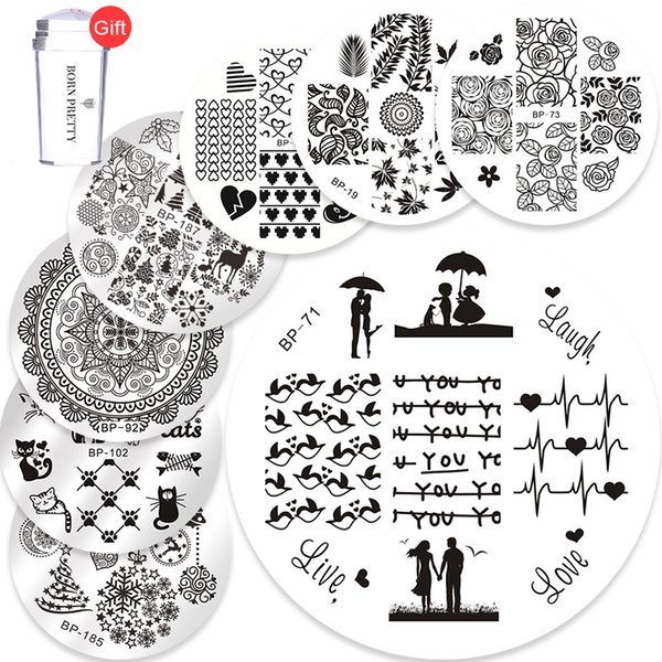 template set BORN PRETTY 10PCS Love Stamping Plates + FREE Clear Jelly Silicone Nail Stamper Scraper Nail Art Stamp Image Template Set