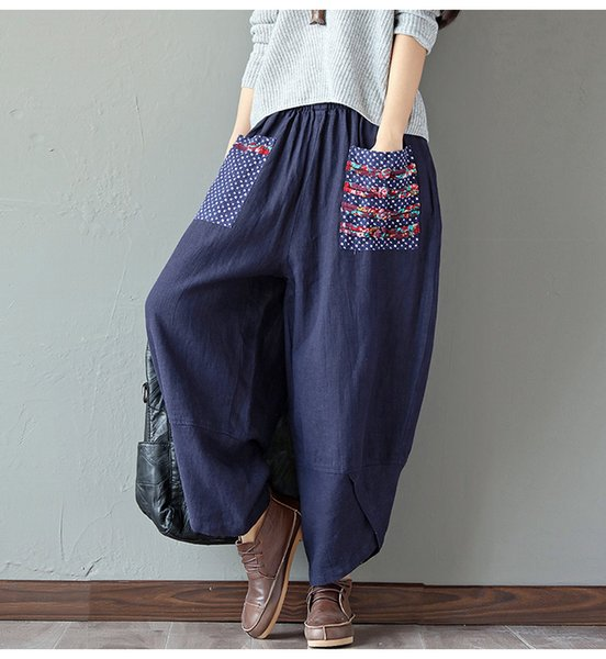 Women Chinese Style Loose Painted Wide Leg Pants Ethnic Summer Style Plus Size Cotton Linen Vintage Girl Pants V41