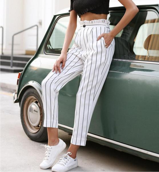 2019 Summer Striped Basic Elegant Women Ruffle Frill Casual High Waist Office Lady Ol Pants Female Work Wear Bottoms C19040801