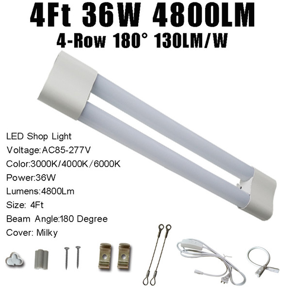 4FT 36W 4800LM Milky Cover