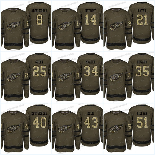 Camouflage Detroit Red Wings Jersey 8 Justin Abdelkader 25 Mike Green 21 Tomas Tatar 14 Gustav Nyquist Army green Hockey Jerseys