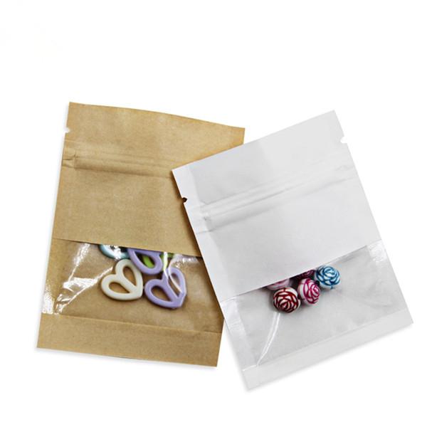 200шт белый коричневый крафт-бумага Zip-Lock пакеты с окном самоуплотняющийся розничной упаковке мешок закуски орехи DIY ремесла хранения молнии сумки