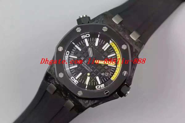 Мужские автоматические часы Cal.3120 Мужские черные jf Керамическая рамка Карбоновый футляр из стекловолокна Резина 15706 Дата Дайвер 42мм Miyota 9015 Роскошные мужские часы