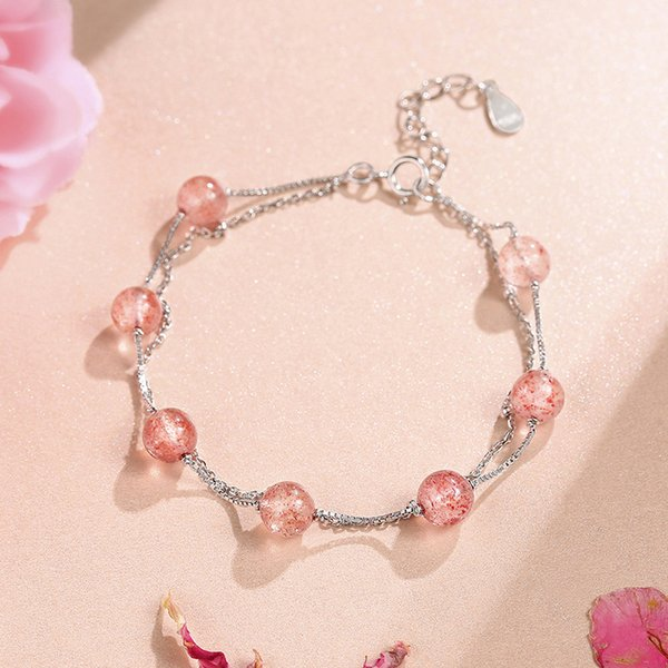 Hot Seller 2019 New Fashion Sweet Double Layer Female Korean Simple Sterling Silver Natural Strawberry Powder Crystal Bracelet Jewelry Gift