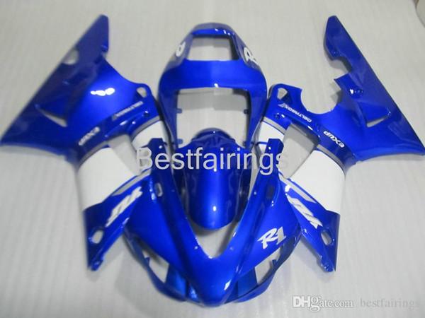ZXMOTOR Free custom fairing kit for YAMAHA R1 1998 1999 blue white fairings YZF R1 98 99 DF23