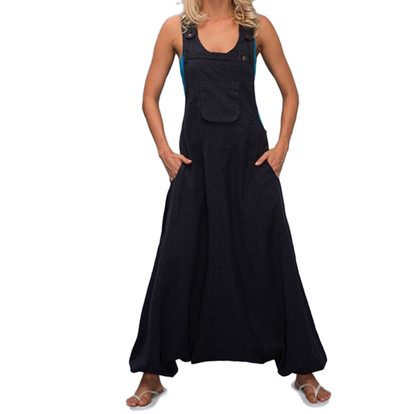 new design Plus Size Solid Chiffon Loose Jumpsuit Women U Neck Sleeveless Backless Side Pockets Baggy Long Jumpsuits