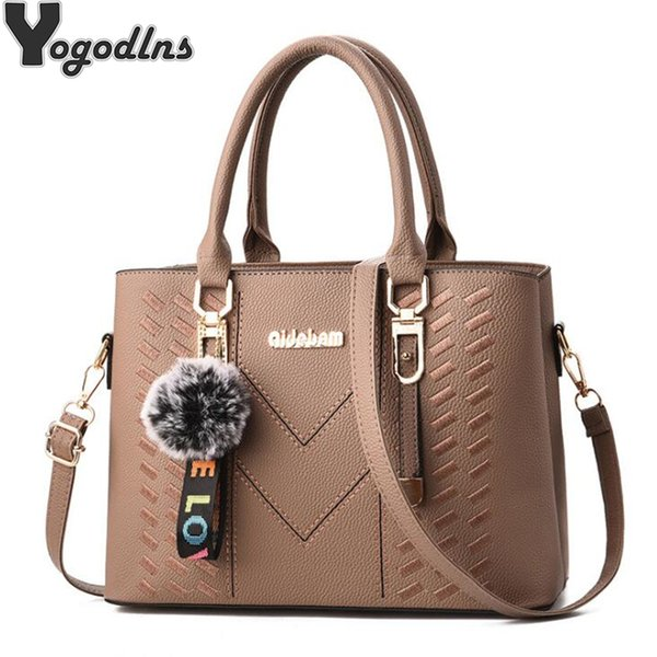 New Elegant Designer Women Messenger Bags Pu Leather Solid Color Crossbody Bags Hairball Shoulder Bag Large Shopping Hand Bag MX190725
