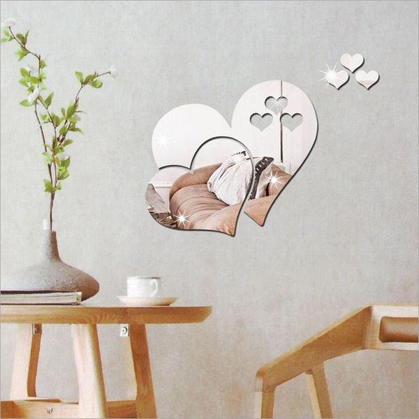 3D Heart-Shaped Mirror Wall Sticker Removable Living Room DIY Art Decal Decor Modern Room Wedding Decoration Bedroom Living room decor