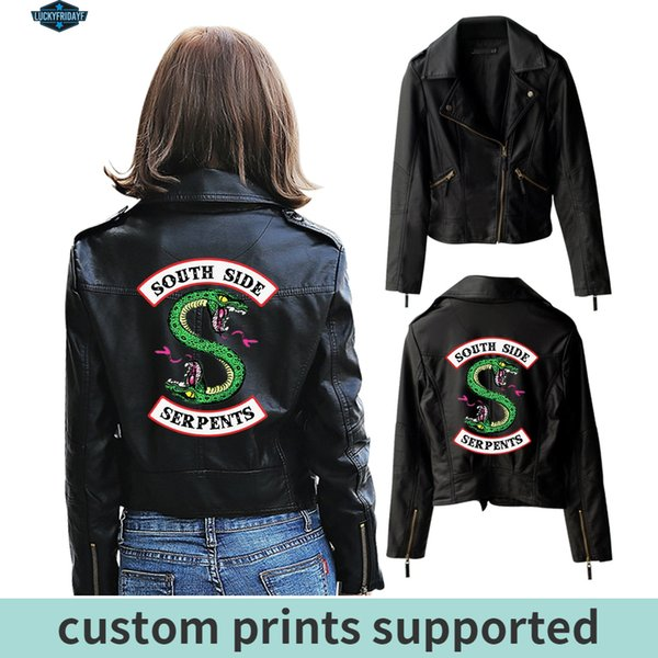 New Riverdale PU Printed Logo Southside Riverdale Serpents Jackets Women Riverdale Serpents Streetwear Leather Jacket Custom SH190913