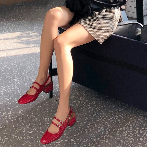 Hot Buckle Strap Med heel Womens Slingbacks Fashion Hot Spring Summer Square toe Mary Jane Single Shoes Woman