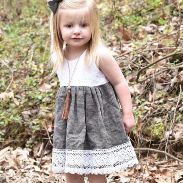 Bebek Elbise Sevimli Toddler Kız Ins Sıcak Dantel Patchwork Prenses Yaz Ruffles Elbise Yeni Batı Parti Moda Çocuklar Elbiseler