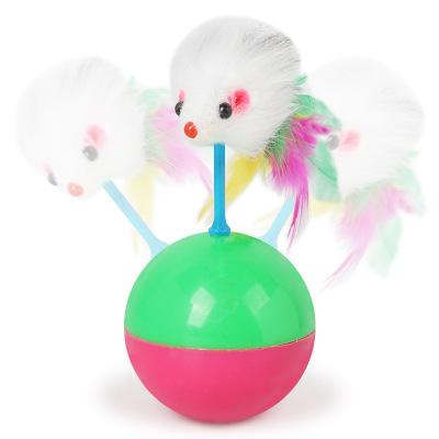 Cute Cat with tumbler mouse toy ball color chicken feather flocking mouse model tumbler mouse ball