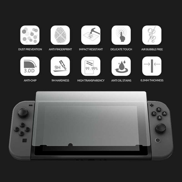 2pcs Tempered Glass Film Screen Protector for Nintend Switch Glass Protective Film for Nintend Ultra Slim Clear Retail Package