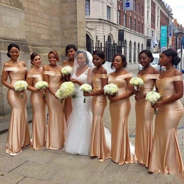 top popular African Satin Mermaid Off Shoulder Bridesmaid Dresses Zipper Back 2019 Gold Long Wedding Party Guest Dress brautjungfernkleid 2021