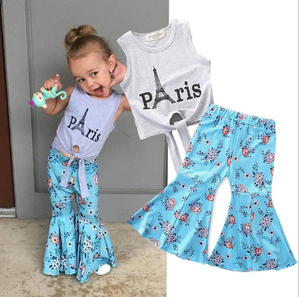 2019 2Pcs Summer Kids Baby Girl Clothes Sets Carta Impreso Tops + Flores pantalones de pierna ancha ancha trajes 2-7Y