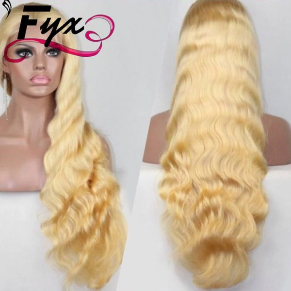 Factory Price 8A Grade elastic band brazilian human hair honey blonde human hair wig full lace wigs 613 with baby