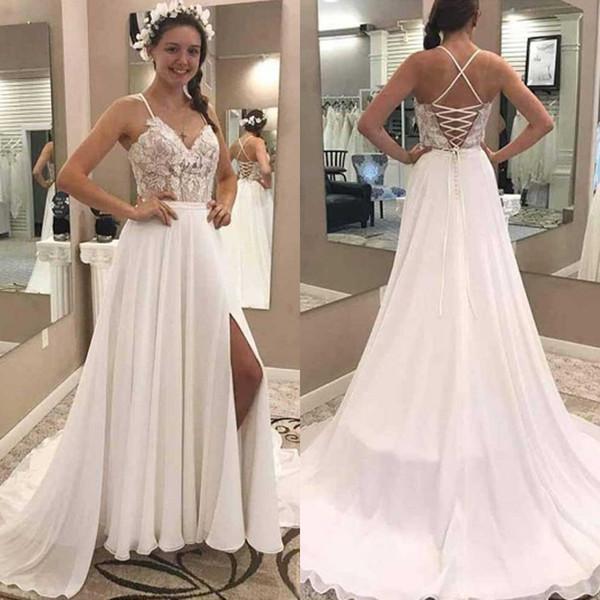Charming A Line V Neck Open Back Chiffon Vestido De Novia Plus Size Spaghetti Strap Lace Side Split Sweep Train Beach Wedding Dresses