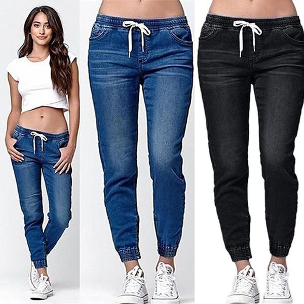 Kordelzug Neue Herbst Bleistift Hose Vintage Hohe Taille Jeans Frauen Hosen Volle Länge Jean Lose Cowboyhose Plus Größe 5XL 6XL Denim