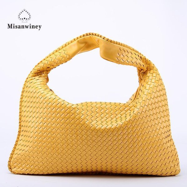 Misanwiney Hand-Weaving Women Bag Handbag Fashion Casual Dumplings Bag Nice New Leather Ms. Tote Shoulder Bag~Star Models