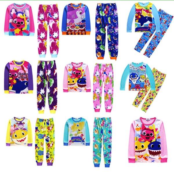 2019 Baby Shark Long Sleeve Pajamas Set Kids Clothing Sets Cartoon Animal Print T shirt Pullover Tops+Pants 2pcs Outfits Casual Tracksuits