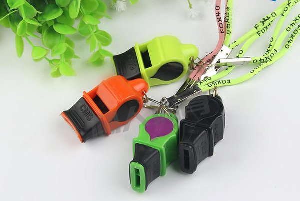 2019 Classic Fox 40 Sonik Blast CMG Whistle with Breakaway Lanyard Referee Lifeguard Whistle Keychain Red/Black/Green/Yellow EDC