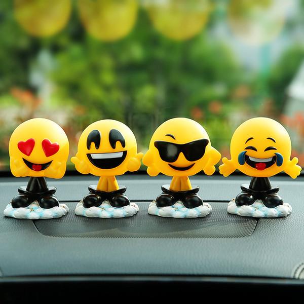 Ornamenti auto carino resina divertente espressione agitazione testa bambole decorazione oscillante testa emoji giocattoli in auto decorazione auto accessori le250