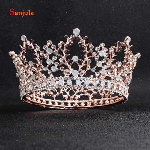 Rose Gold Princess Tiaras and Crown for Bridal Gold Hair Jewelry Round Circle Middles East Bride Wedding Hair Wear corone H254