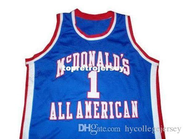 Pas cher Mens TRACY # 1 McGRADY McDONALD TOUT AMÉRICAIN NOUVEAU BLEU TOUTE TAILLE XS - 5XL Maillots de Basket-ball