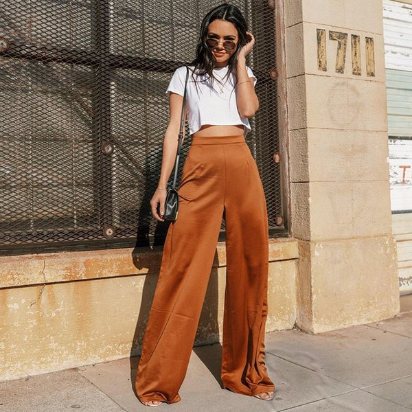 Loose Womens Pants Automne Satin Brown Taille haute Pantalon Womens Vêtements Pantalons Femmes 2019 Solid Long Large Leg