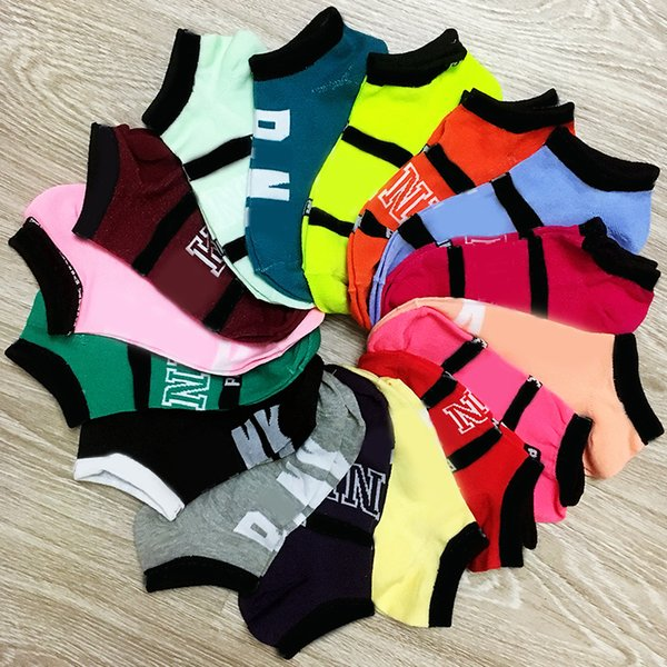 top popular Multicolor Pink Black Ankle Socks Sports Cheerleaders Short Sock Girls Women Cotton Sports Socks Pink Skateboard Sneaker Stockings 2019