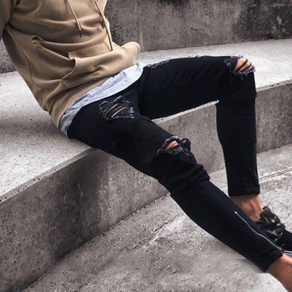 MJARTORIA Men's Fashion Skinny Destroyed Denim Patch Pencil Pants New Ripped Hole Slim Fit Zipper Black Elastic Jeans