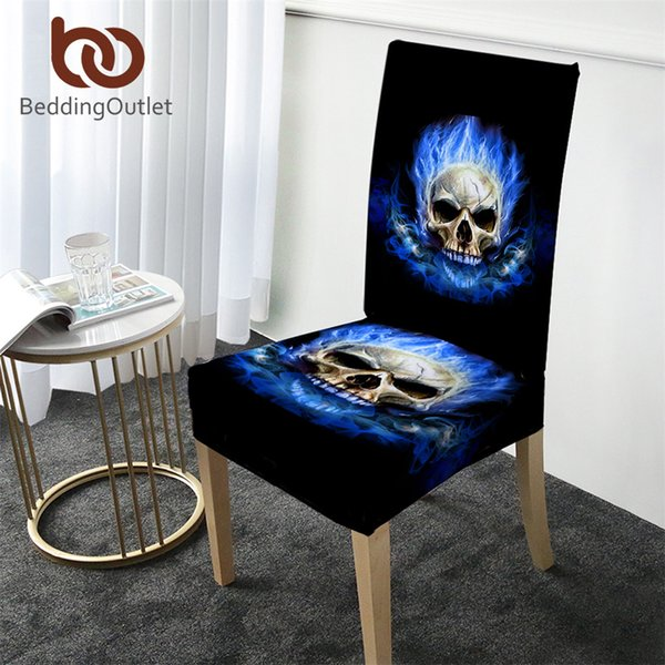 BeddingOutlet Flame Skull Chair Cover Gothic Removable Spandex Elastic Kitchen Slipcover Blue Fire Modern Anti-dirty Seat Case