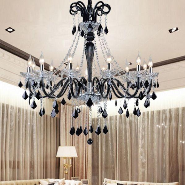 Schwarzer Kristall Kronleuchter führte transparentes Kristalllicht moderne schwarze Kronleuchter Kristallanhänger moderne Esszimmer Schlafzimmer führte MYY