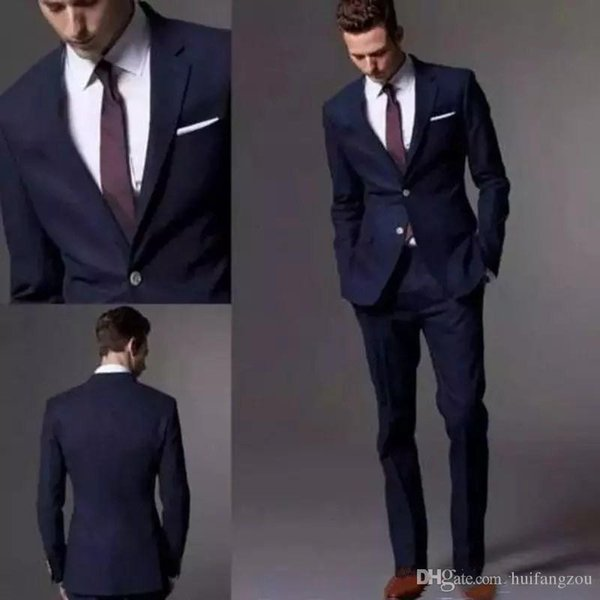 Custom Made Dark Navy Men Suit 2018 Fashion Groom Suit Wedding Suits For Men Slim Fit Groom Tuxedos For Man(Jacket+Pants)
